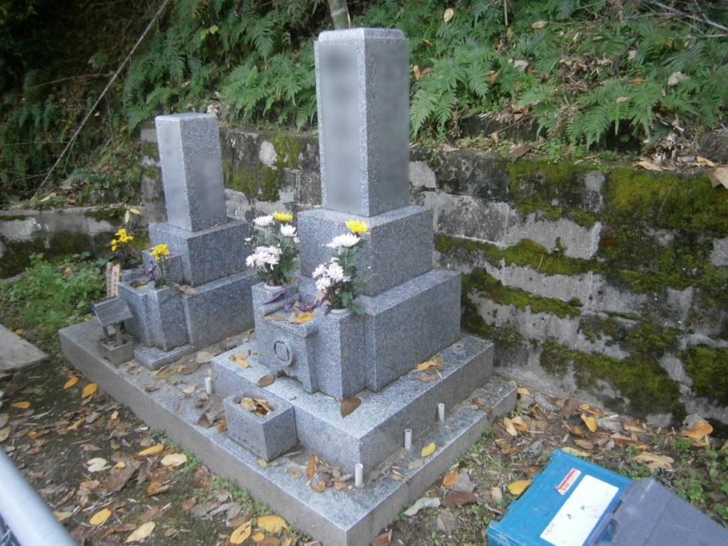 2016年11月施工 広島県広島市西区 W様 8寸3重台 + 巻石 墓じまいの施工事例
