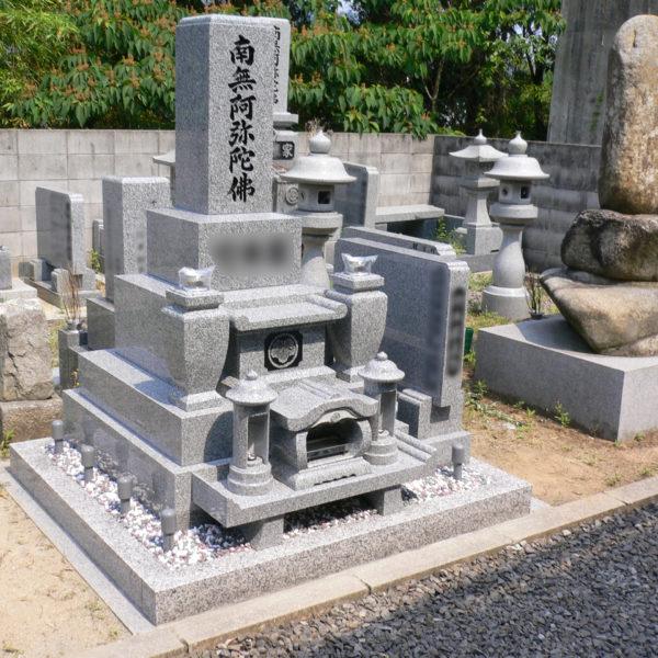 2009年6月施工 広島県広島市安佐北区T様 国産大島8寸4重台 + 墓誌 + 巻石 お墓の建立
